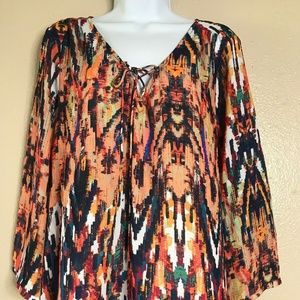 ANA Women Size XL Abstract Print Colorful Blouse